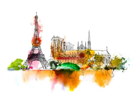 スケッチのノートルダム ・ ド ・ パリ ・ エッフェル タワーします。色鮮やかな水の色の効果が付いたスケッチします。