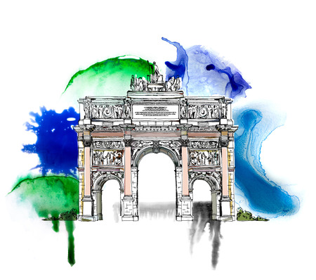 Sketch of Triumph Arch in Paris. Sketch with colourful water colour effects Stock Photo
