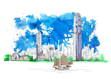 Het commerciële centrum van Hong Kong, bank van China, schets met kleurrijke waterkleurgevolgen