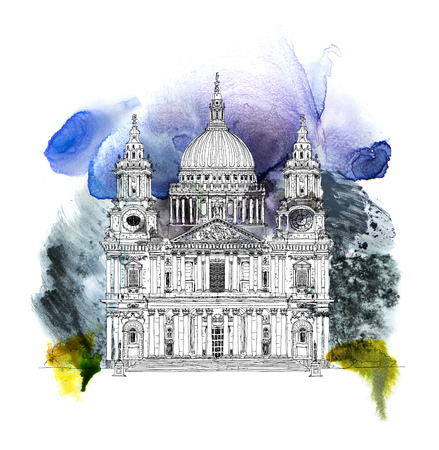 St. Pauls cathedral, London. Sketch collection famous buildings. Sketch with colourful water colour effects