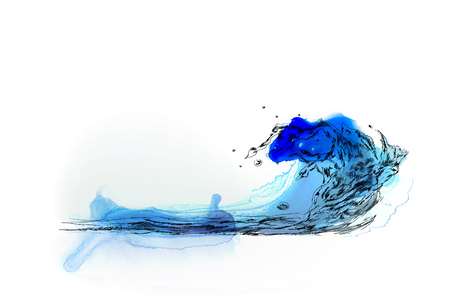 wet paint: Water splash hand drawing background. Sketch with colourful water colour effects