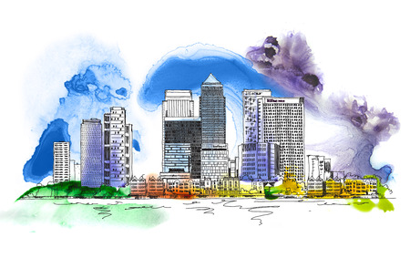 Canary Wharf business aria, London, Sketch with colourful water colour effects