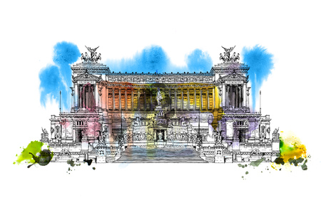 Altar of the Fatherland (Altare della Patria) 1925. Piazza Venezia. Vittorio Emanuele II in Rome, Italy. Sketch with colourful water colour effects Stock Photo
