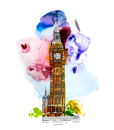 Big Ben and Houses of Parliament, London UK. Sketch with colourful water colour effects