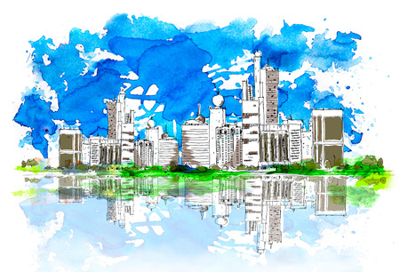 United Arab Emirates artistic sketch background. Sketch with colourful water colour effects