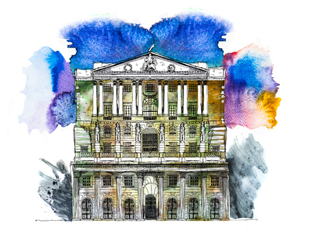 Bank of England in London, UK. Sketch with colourful water colour effects Stock Photo
