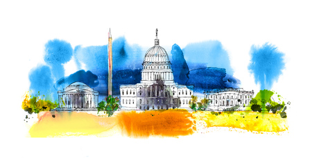 Washington DC. White house and obelisk. Sketch composition with colourful water colour effects Stok Fotoğraf