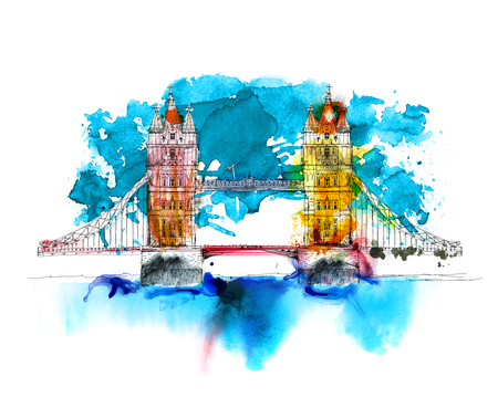 London, Tower bridge. Sketch with colourful water colour effects