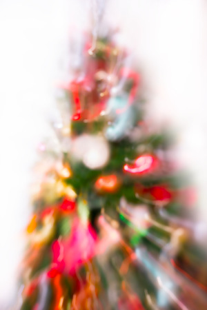 Christmas tree decorated with toys, Multiple exposure image for background