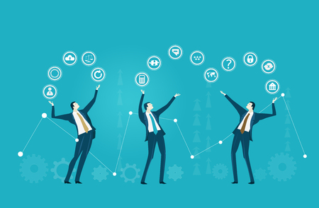 Business people holding up and passing each other communication icons. Business network, development, support and working together concept illustration.