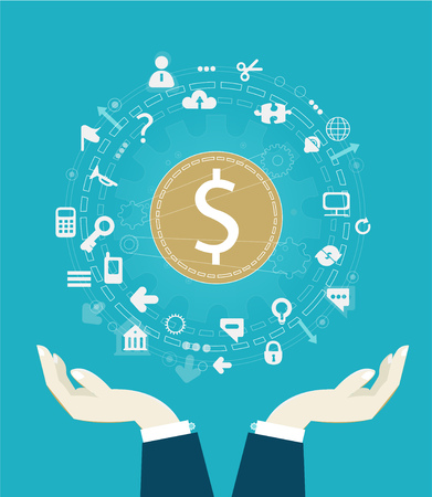 Dollar symbol surrounded by network communication icons. Business and economy concept. Illustration