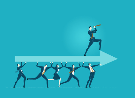 Lots of office workers running and caring the big arrow with leader staying on top of it. Team, working together, coordination and developing business concept. Illusztráció