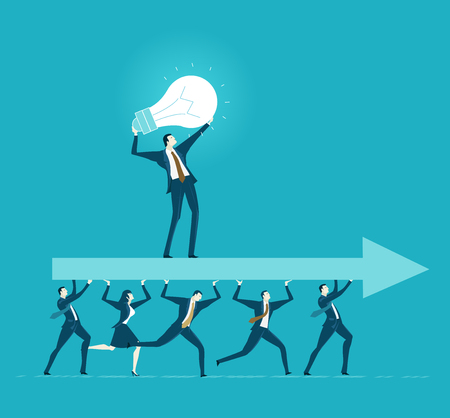 Lots of office workers running and caring the big arrow with leader staying on top of it. Team, working together, coordination and developing business concept. Vectores