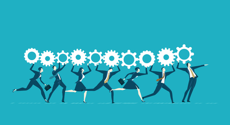 Team of business people running with gears.