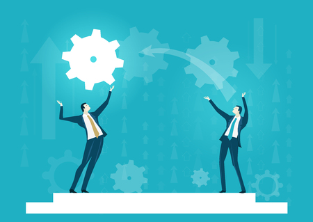 Two businessmen playing with gear. Abstract illustration representing working together and support concept.