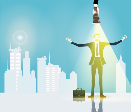Successful businessmen in the city. Business concept illustration Illustration