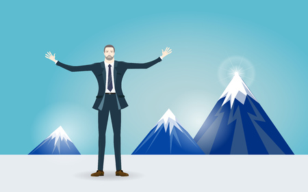 Businessman front of the mountains. Business  success concept illustration. Illustration