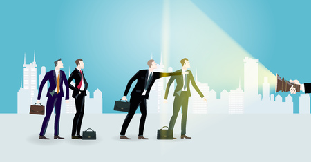 Group of successful business people in the City, pointing to the future and looking for the opportunity. Business concept illustration