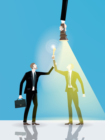 Two businessmen holding the golden trophy up. Supporting idea, working together concept. Illustration