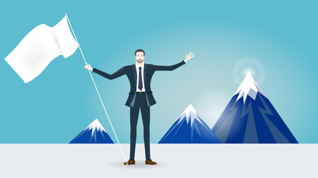 modern business: Businessman front of the mountains. Business  success concept illustration. Illustration