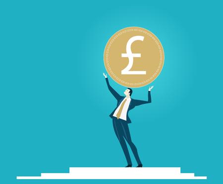 Businessmen Holding Up The Currency Symbol British Pound Economy