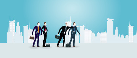aria: Group of successful business people in the City, pointing to the future and looking for the opportunity. Business concept illustration