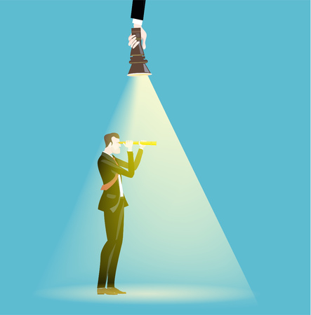Successful businessmen illuminated with torch light. Business concept illustration