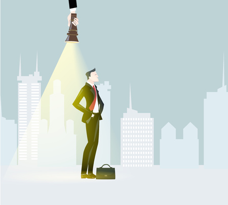 Successful businessmen in the city illuminated with torch light. Business concept illustration