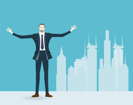 aria: Successful businessmen in the city. Business concept illustration Illustration