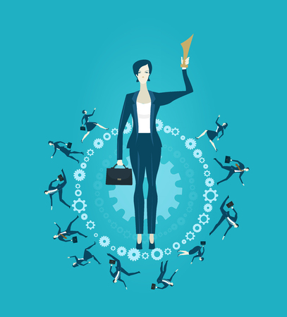 lock symbol: Business woman with trophy  is being held by senior management hand. Support and working together  concept illustration.