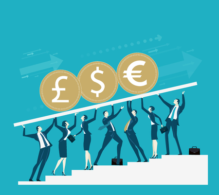 Team of successful business people holding up the platform with currencies: dollar, pound and euro. Economy stabilisation concept Illustration