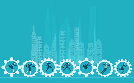 Business people running inside of gears. Modern competitive lifestyle in the City. Concept illustration