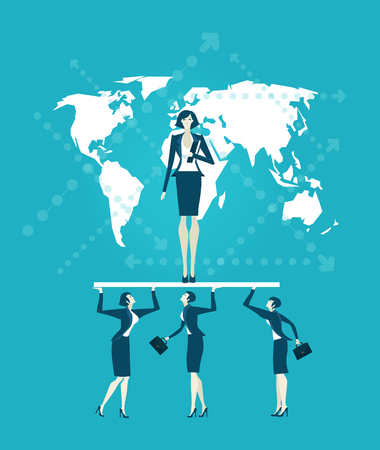 Business woman and her supportive team Illustration