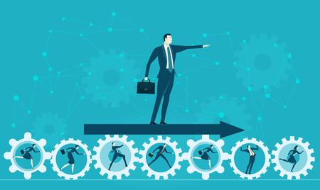 ビジネスの男性は、将来の成功を開発するための方向を示します。ビジネス概念図  イラスト・ベクター素材