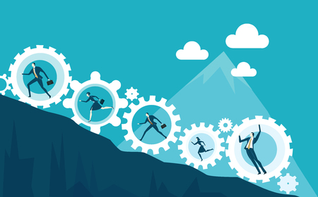 Business people running up to the top of mountain on the way towards the success. Concept illustration Illustration