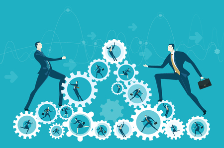 Two businessmen climbing up on the pyramid made of gears with hard working people. The way towards the success. Concept illustration Illustration