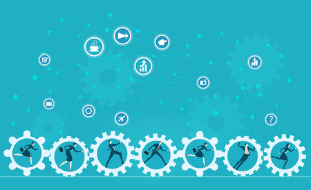 Business people running, pushing and rolling gears. Business network concept illustration