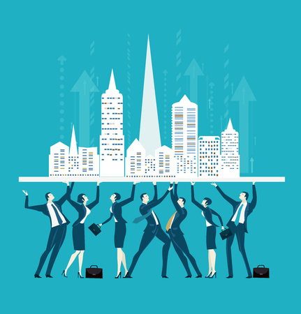 Team of successful business people holding up the City. Concept illustration