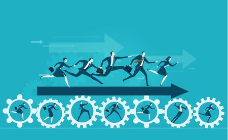 Hombres de negocios que muestran la dirección para desarrollar un futuro exitoso. Ilustración del concepto de negocio Ilustración de vector