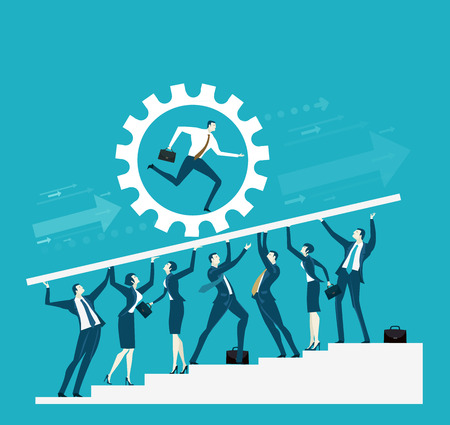 Team of successful business people holding up the platform with running business men Illustration