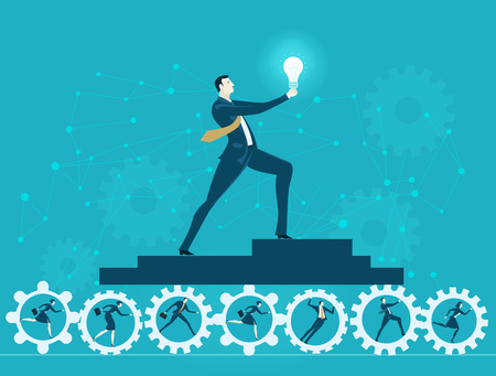 Successful businessmen holding the Idea bulb and  staying on the gears rolling by his hard working team. Business concept illustration Illustration