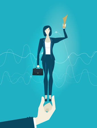 Business woman with trophy  is being held by senior management hand. Support and working together  concept illustration.