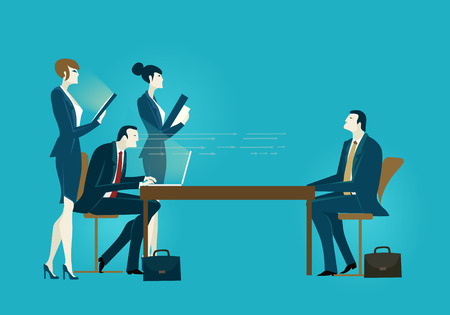 Group of business people on meeting. Interviewing the candidate. Business concept illustration. Illustration