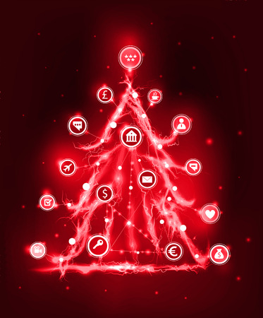 Christmas tree. Abstract image made of electricity effects and business communicating icons. Business network concept.