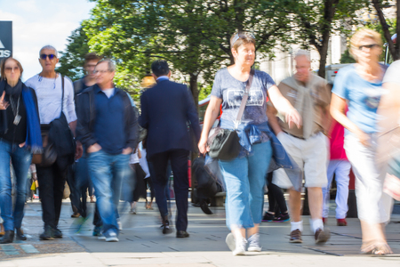 LONDON, UK - June 9, 2017: Blurred image of walking people at Oxford street, the main destination for shopping at Westend. Editorial