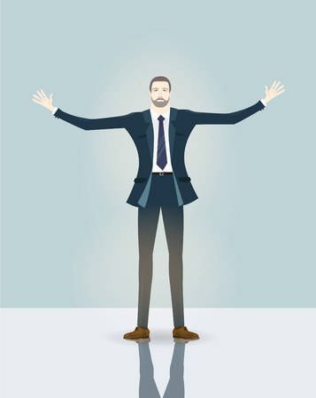 Businessman in open wide hand, welcoming to the company success. Business concept illustration. Illustration