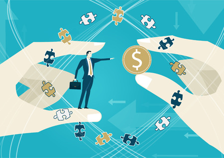 stability: Businessman pointing on the dollar symbol and surrounded by puzzle pieces. Market fall, economy concept.
