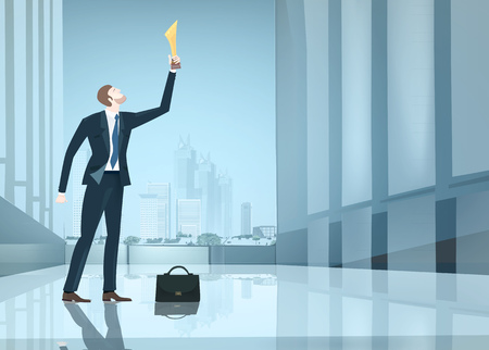 Successful businessman holding up the golden trophy in the office. Winning, leading and success theme illustration. Business concept collection.