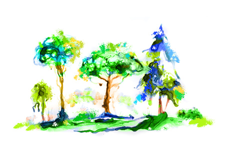 Abstract forest made of watercolour