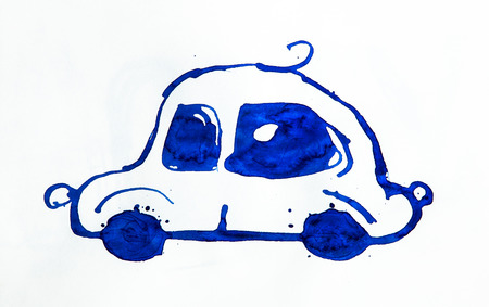 Abstract automobile made of watercolour